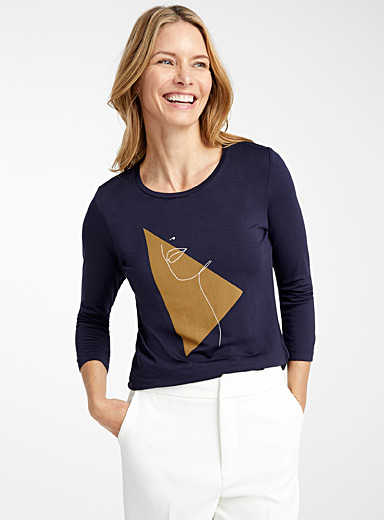 Contemporaine Oxford Artistic silhouette tee for women