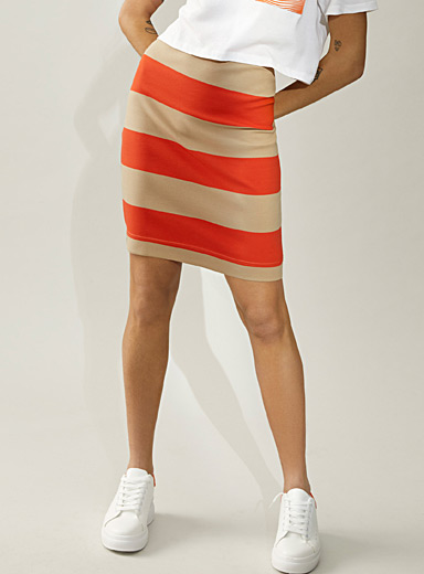 Icône Patterned White Organic cotton striped pencil skirt for women