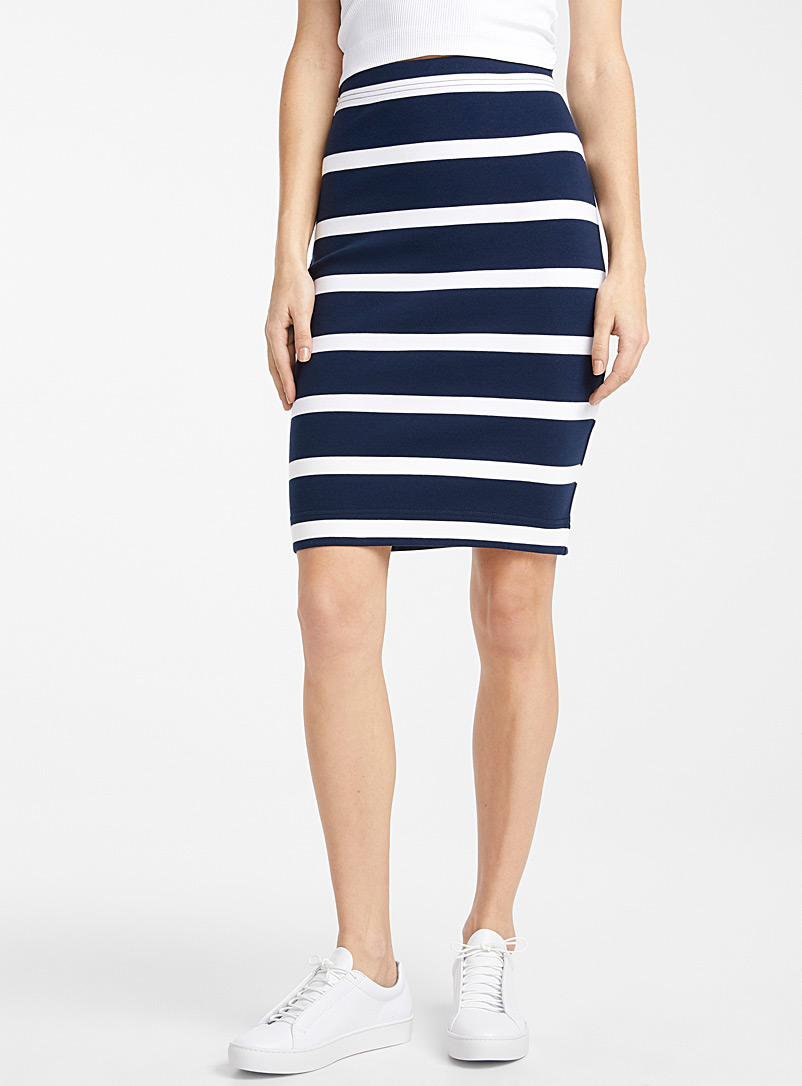 Icône Patterned Blue Organic cotton striped pencil skirt for women