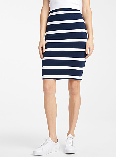 Organic cotton striped pencil skirt