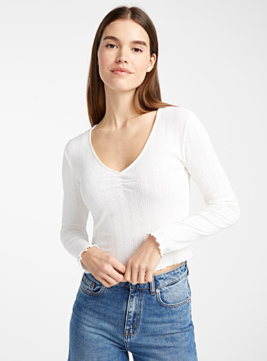 Organic cotton pointelle V-neck tee