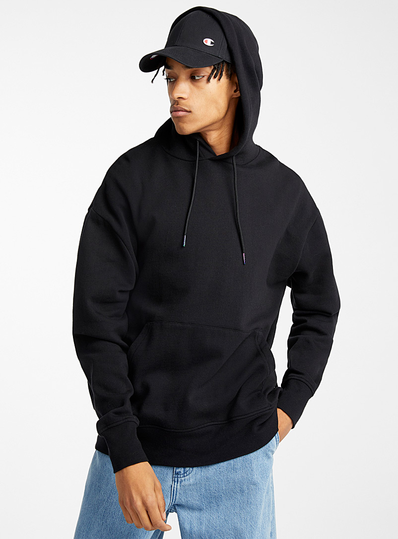 Djab Black Organic cotton basic hoodie for men