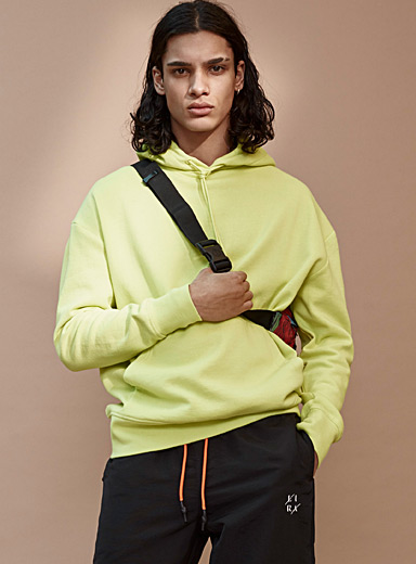 Djab Light Yellow Organic cotton basic hoodie for men