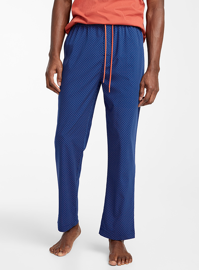Le 31 Patterned Blue Printed bamboo rayon lounge pant for men