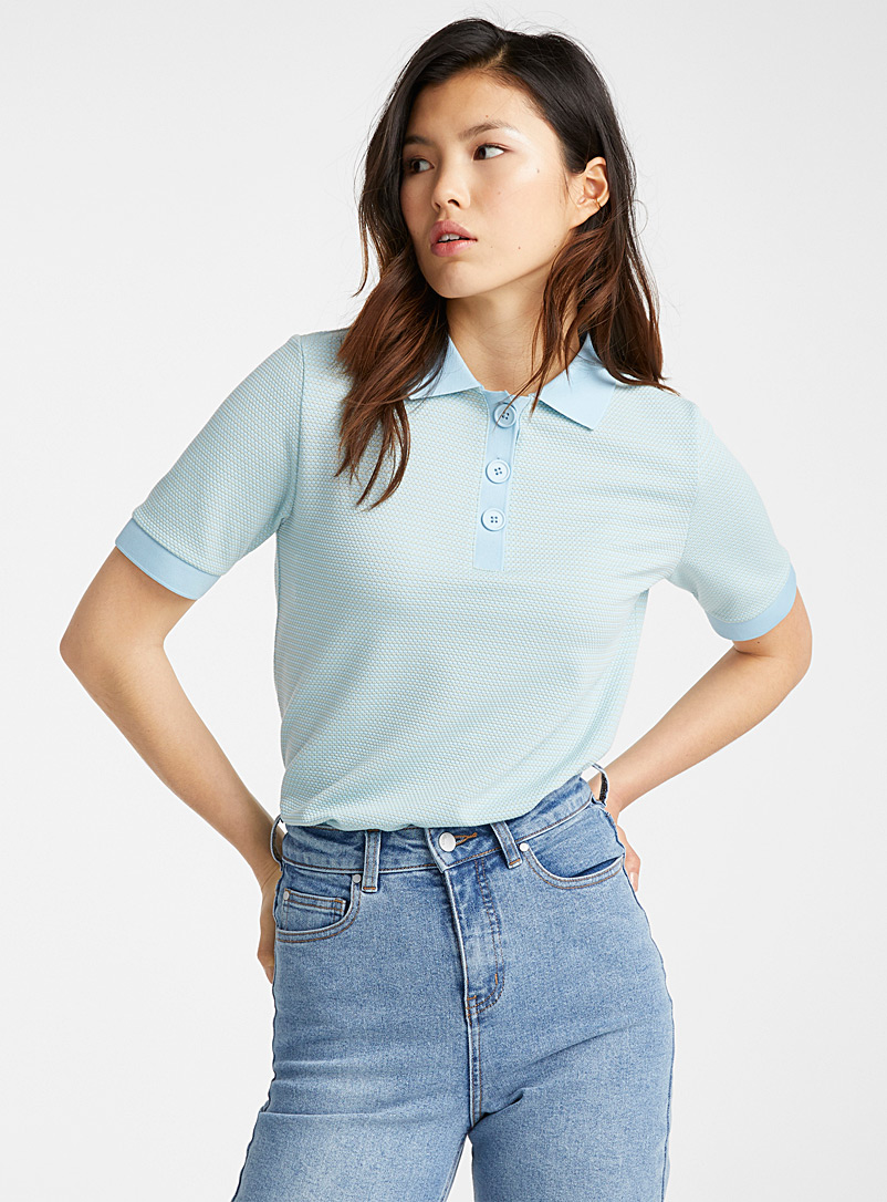 Ic?ne Patterned Blue Jacquard ray polo for women