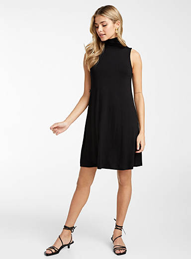 Icône Black Sleeveless flared jersey dress for women