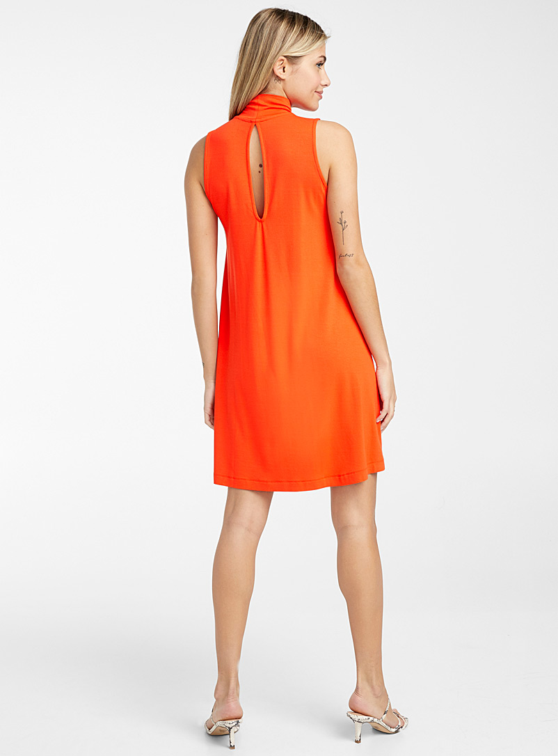 Icône Orange Sleeveless flared jersey dress for women