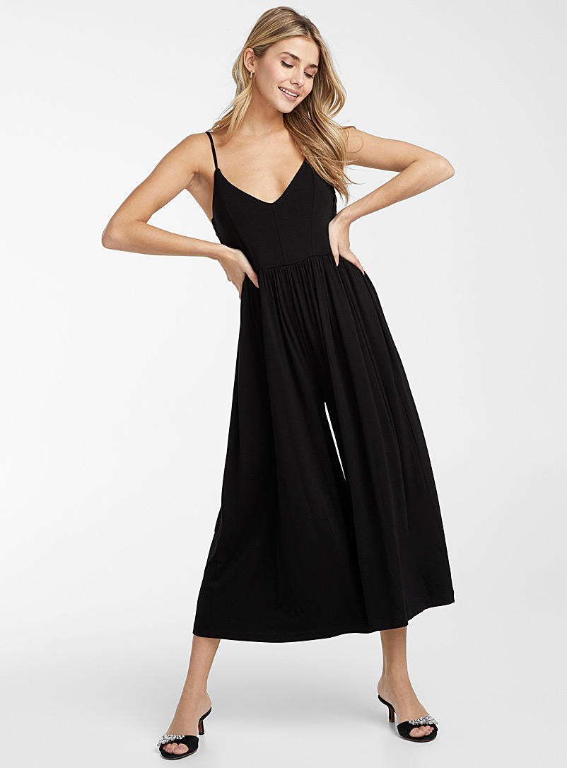 Icône Black Thin strap jersey jumpsuit for women