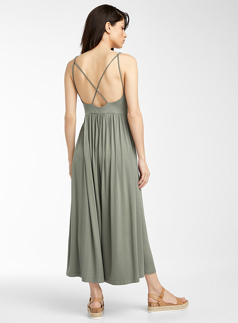 Icône Mossy Green Thin-strap jersey jumpsuit for women