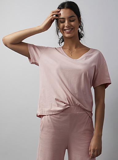 Miiyu Dusky Pink Velvety organic cotton lounge tee for women