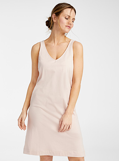 Miiyu Dusky Pink Velvety organic cotton tank nightgown for women