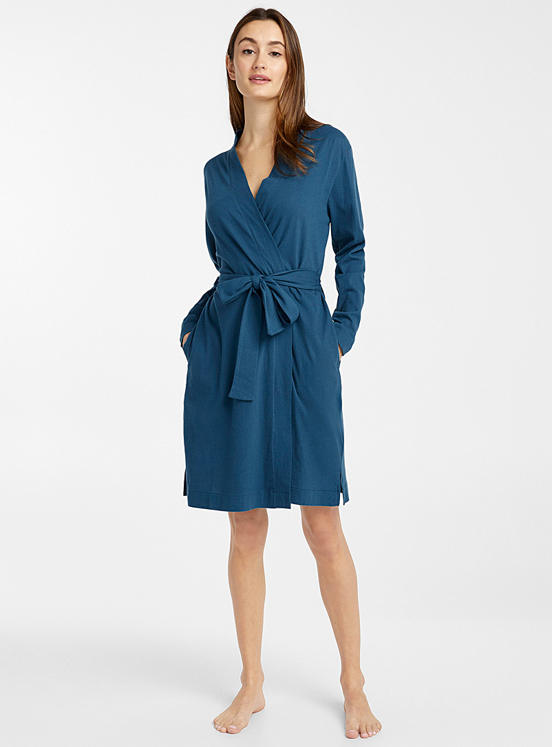 Velvety organic cotton robe
