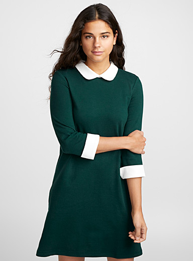 Twik Mossy Green Mini-embroidery Peter Pan collar dress for women