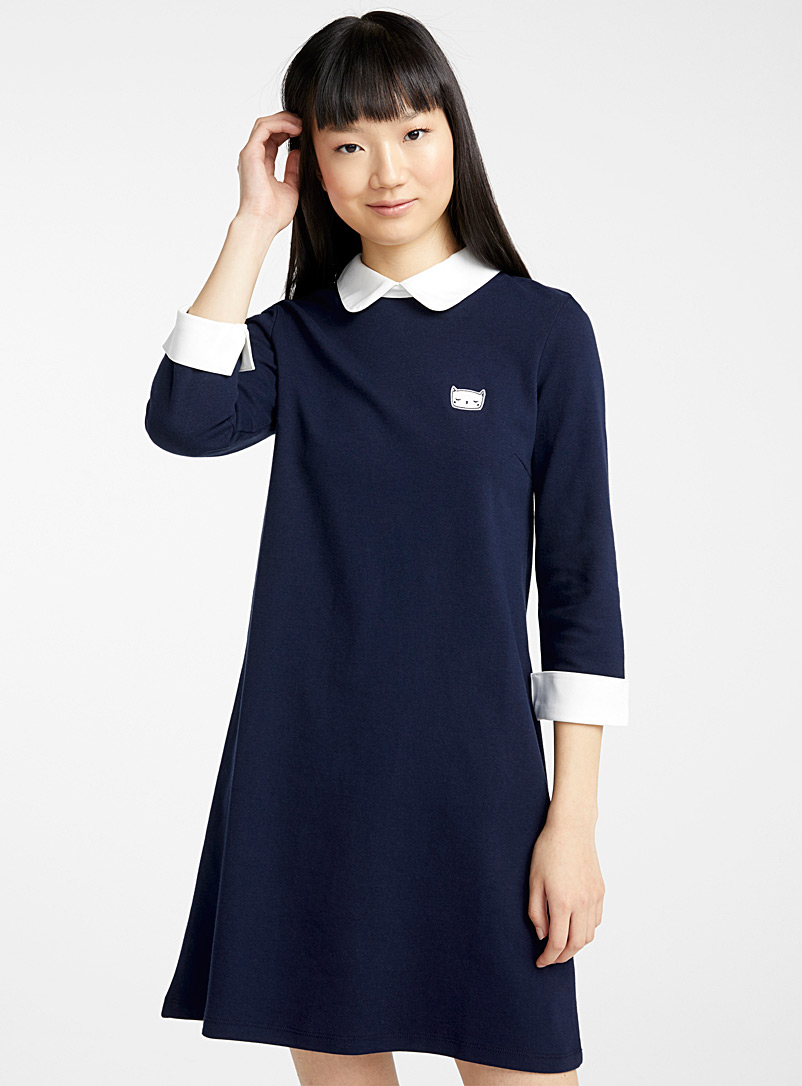 Twik Marine Blue Mini-embroidery Peter Pan collar dress for women