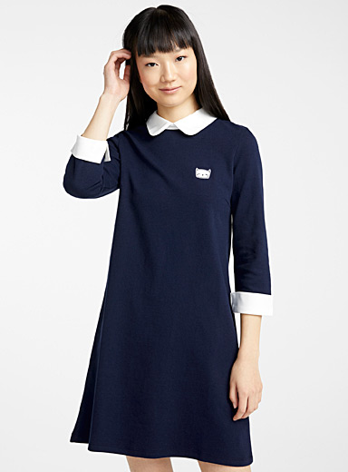 Mini-embroidery Peter Pan collar dress