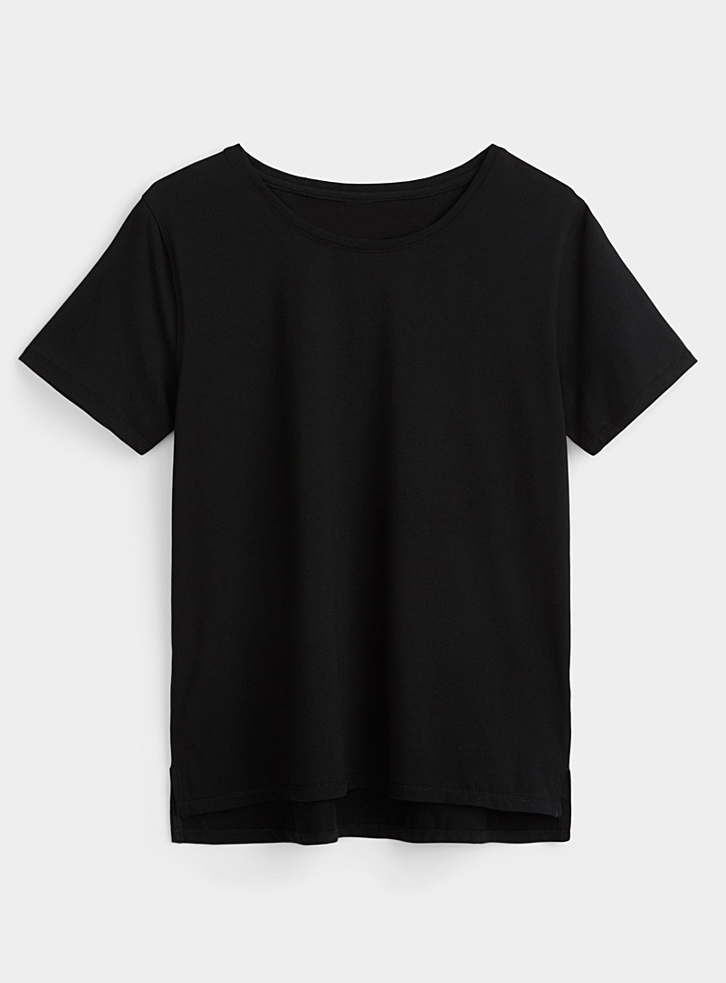 I.FIV5 Black Cool cotton solid tee for women