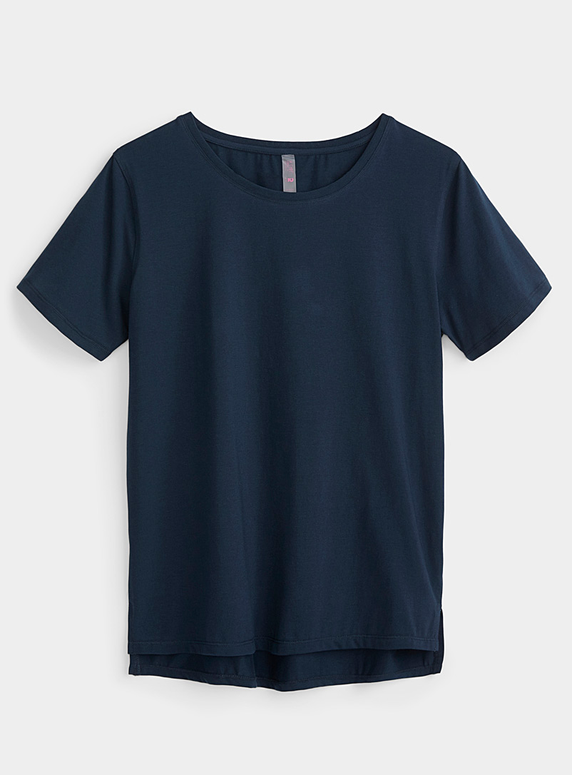 I.FIV5 Marine Blue Cool cotton solid tee for women