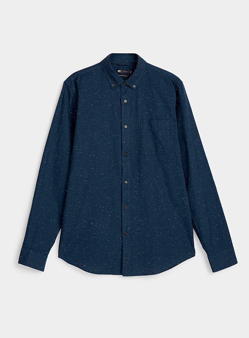 Le 31 Marine Blue Flecked oxford shirt  Modern fit for men