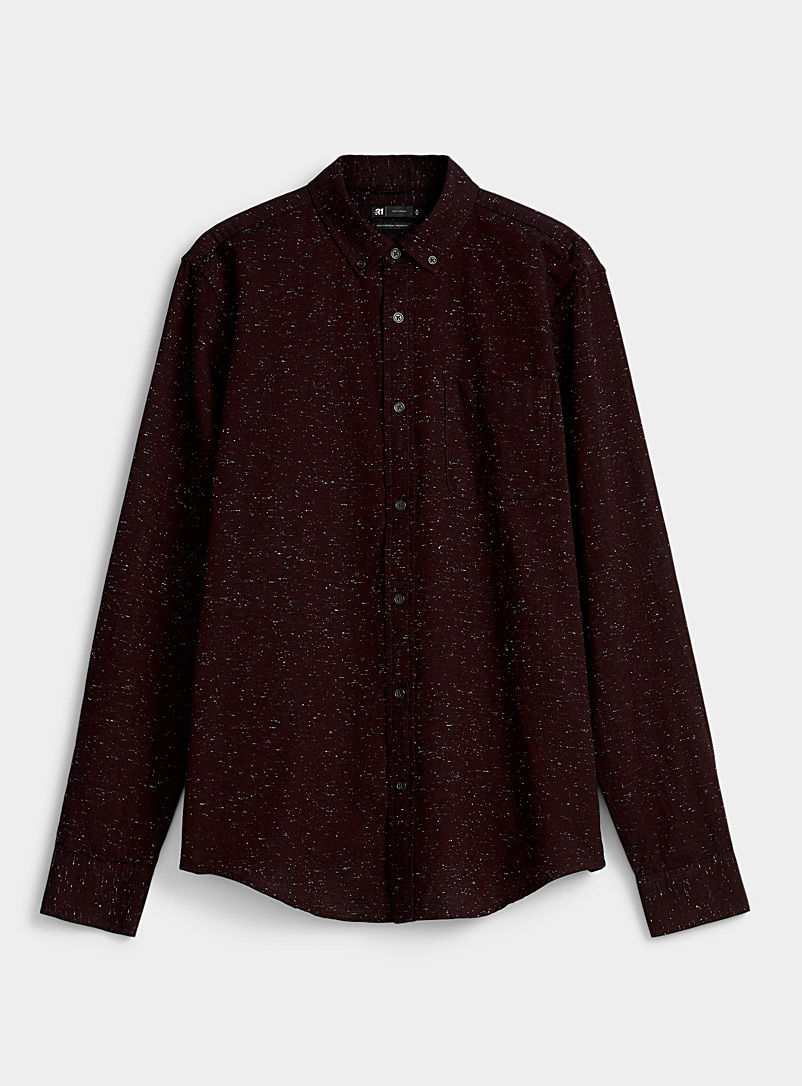Le 31 Ruby Red Flecked oxford shirt  Modern fit for men