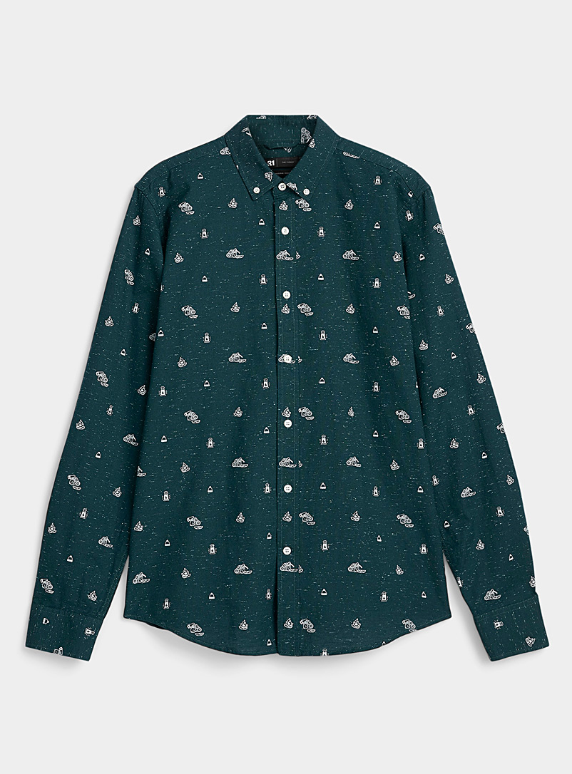 Le 31 Mossy Green Flecked patterned Oxford shirt for men