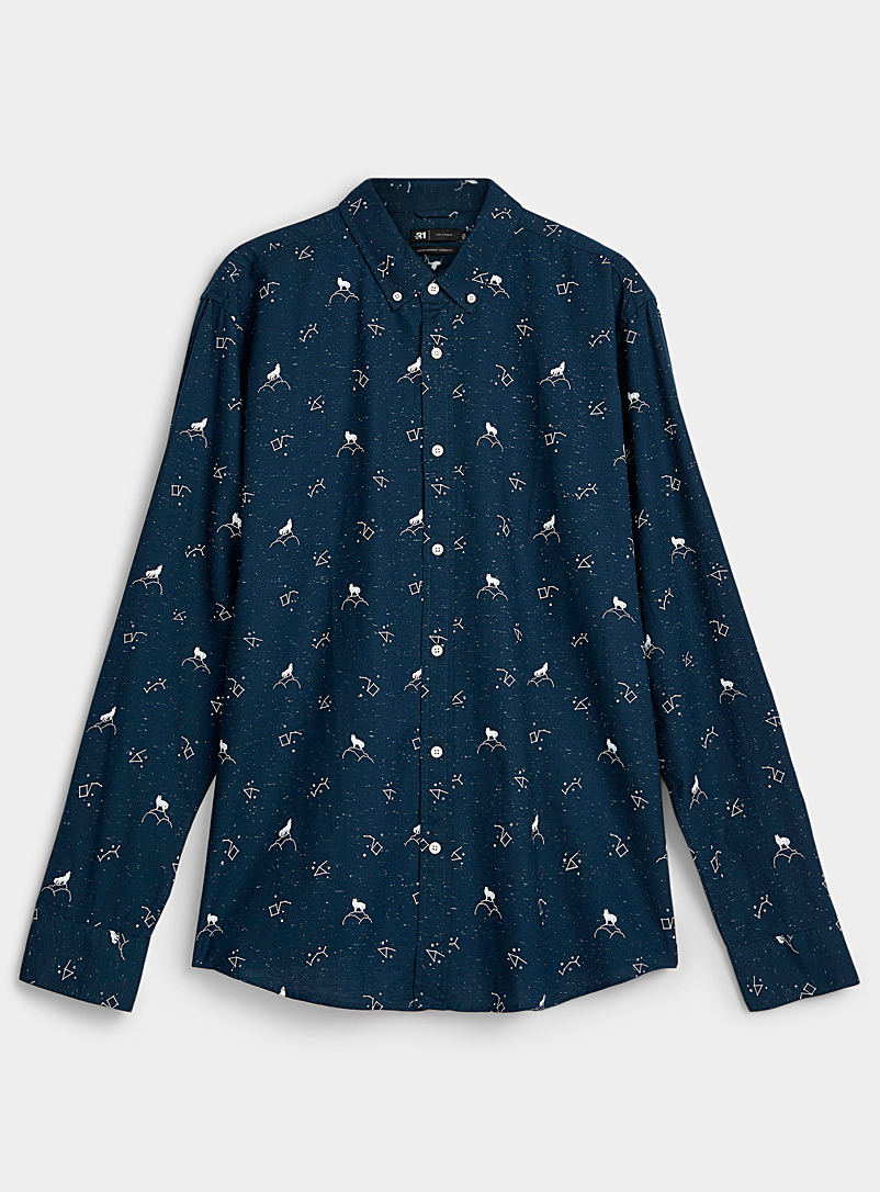Le 31 Marine Blue Flecked patterned Oxford shirt for men