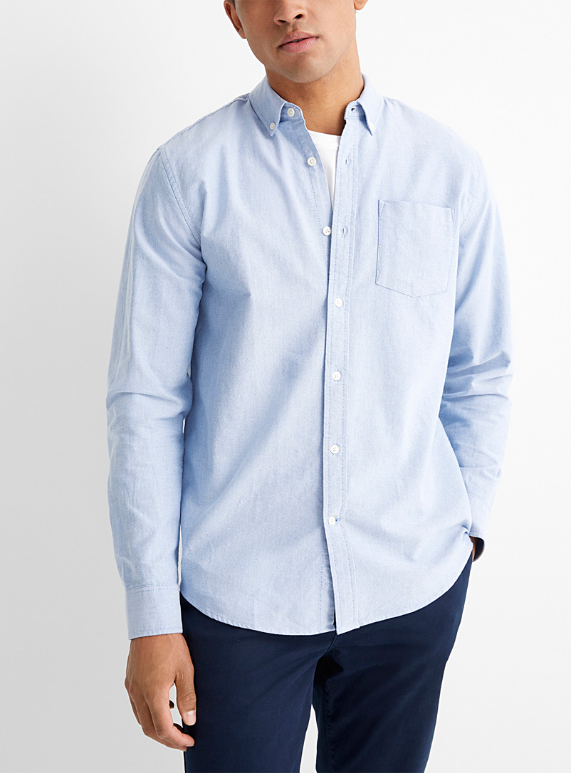 Le 31 Baby Blue Organic cotton oxford shirt  Modern fit for men