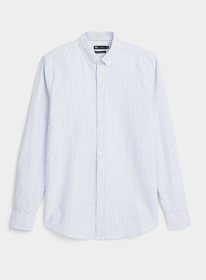Le 31 Patterned White Oxford striped shirt  Modern fit for men