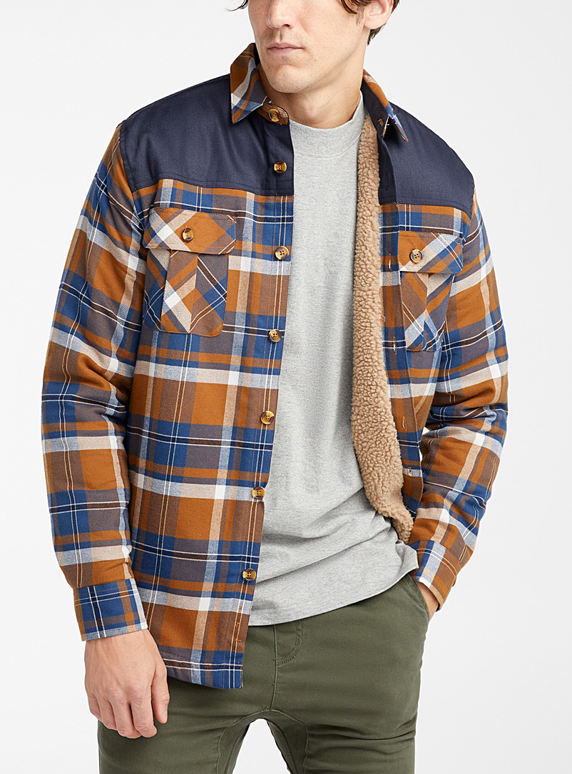 Djab Blue Recycled cotton lumberjack overshirt for men