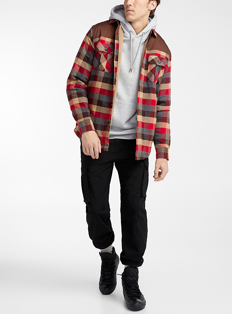Djab Red Recycled cotton lumberjack overshirt for men