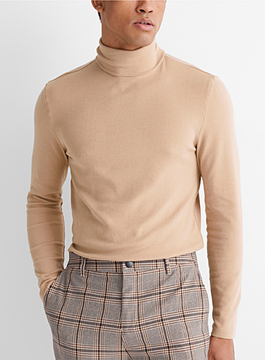 Le 31 Fawn Pima and modal turtleneck for men
