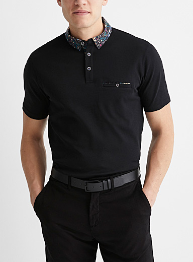 Patterned poplin-collar liquid cotton polo