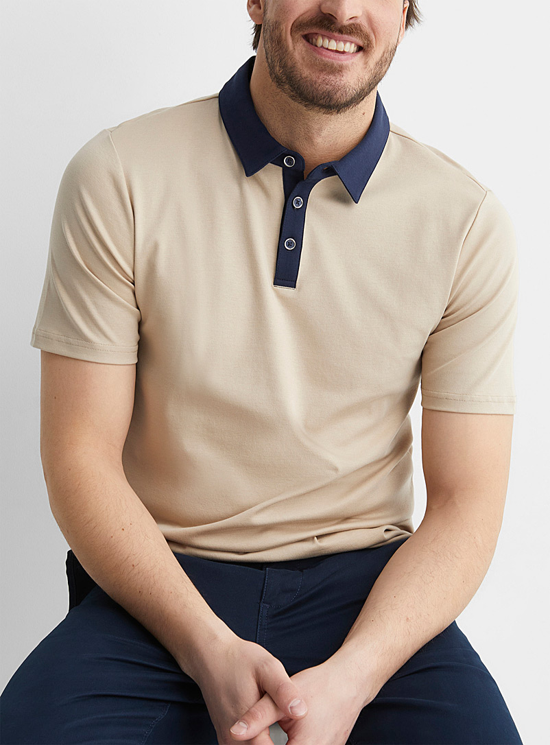 Le 31 Honey Accent collar liquid cotton polo for men