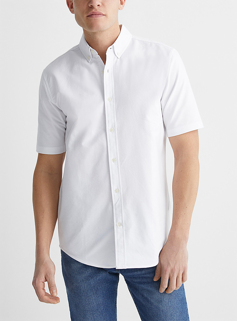 Le 31 White Solid Oxford shirt Modern fit for men