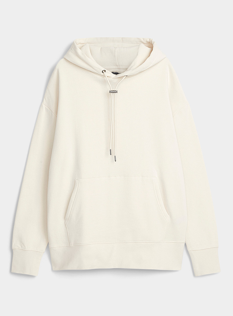 Djab Cream Beige Toggle-cord fleece hoodie for men
