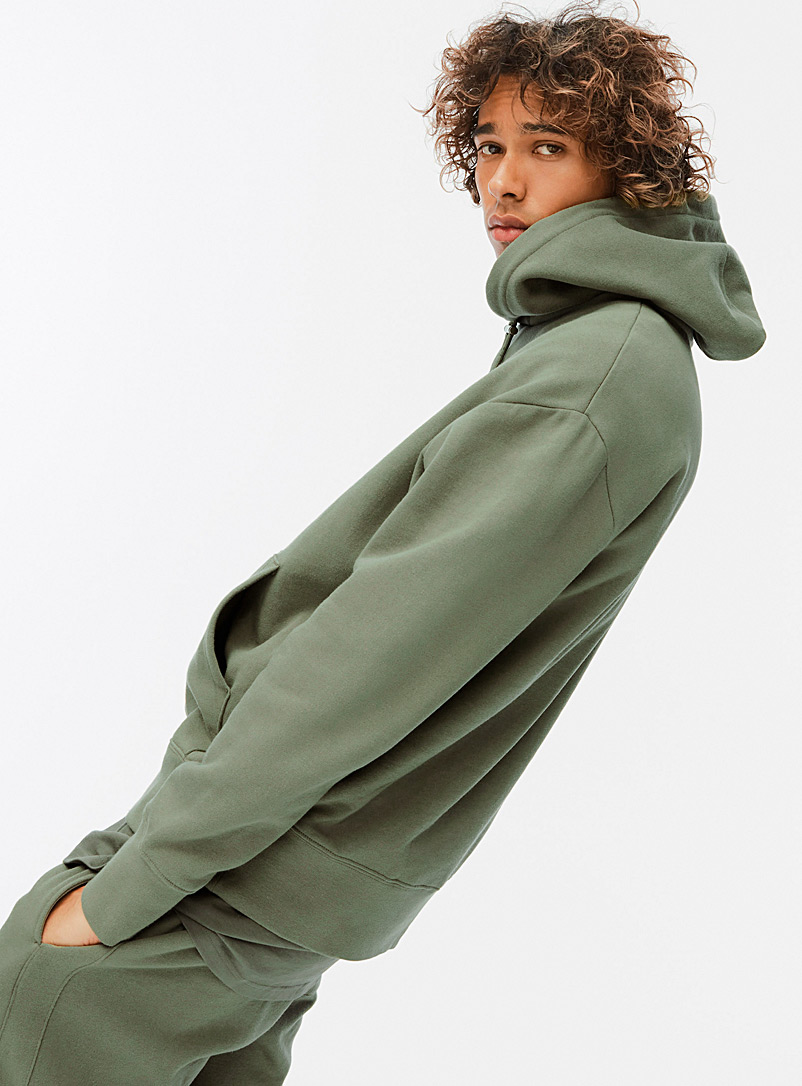 Djab Mossy Green Toggle-cord fleece hoodie for men