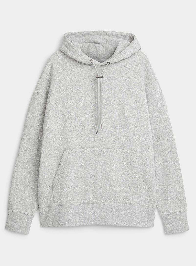 Djab Grey Toggle-cord fleece hoodie for men
