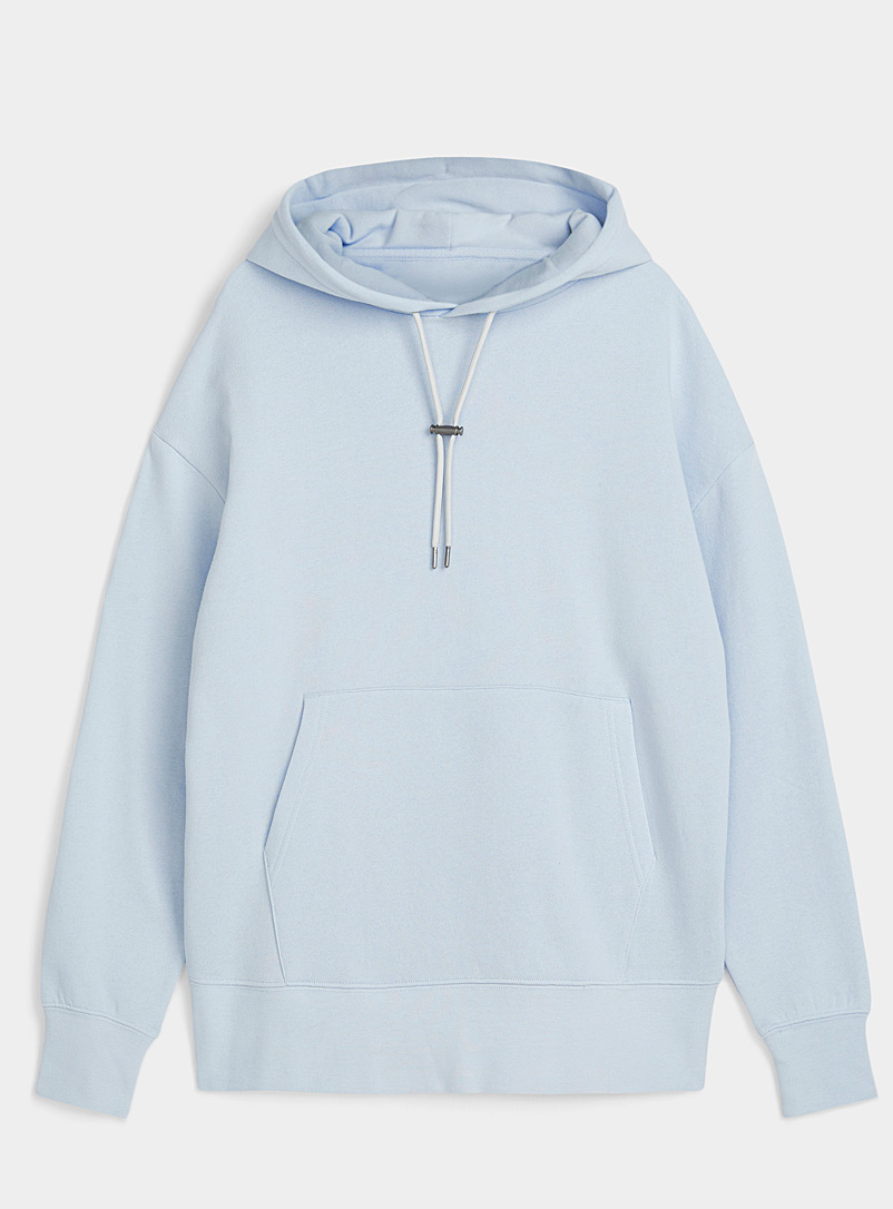Djab Baby Blue Toggle-cord fleece hoodie for men