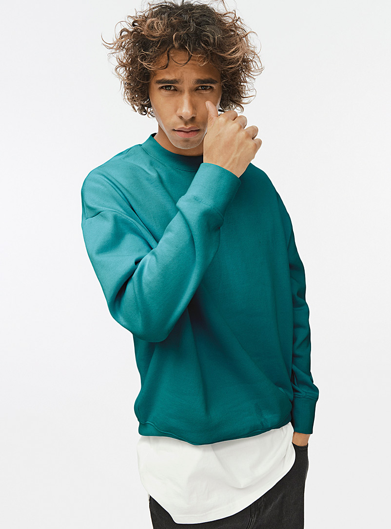 Djab Teal Basic crew-neck sweatshirt for men