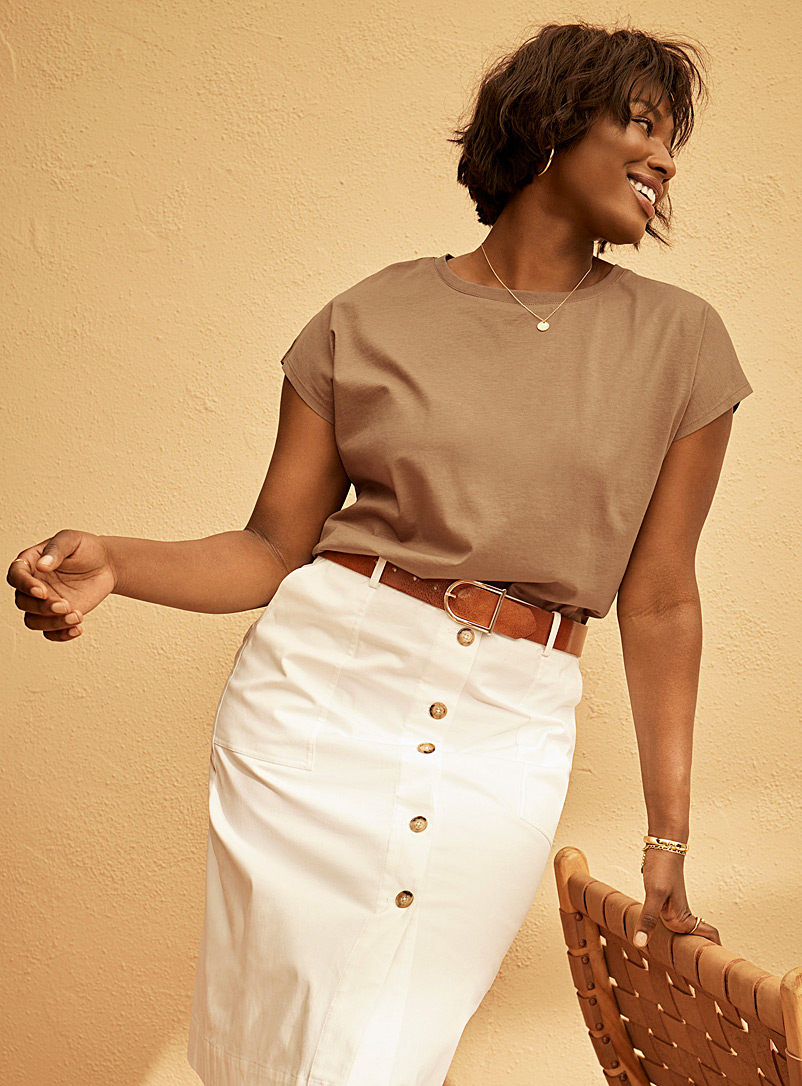 Contemporaine Fawn Silky cotton boxy T-shirt for women