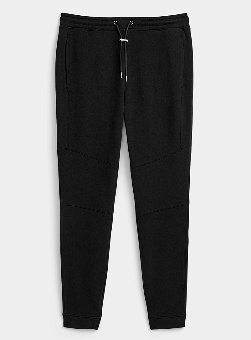 Djab Black Toggle-cord fleece joggers for men