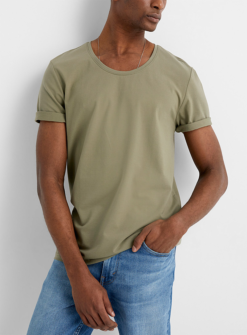 Le 31 Mossy Green SUPIMA* cotton scoop-neck T-shirt for men