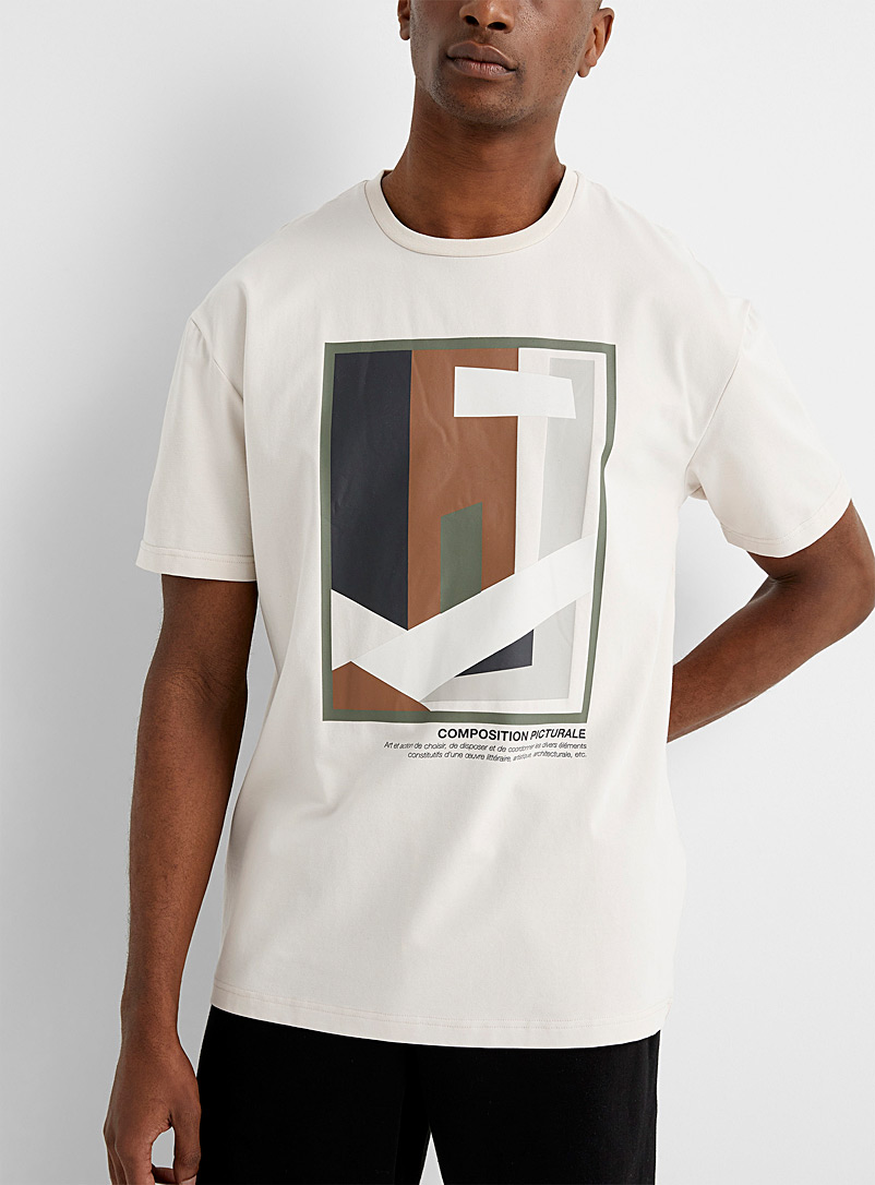 Le 31 Cream Beige Pictorial works Supima* T-shirt for men