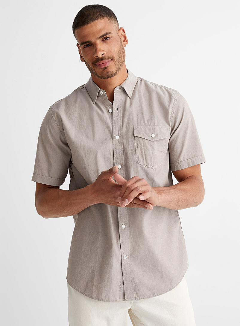 Le 31 Cream Beige Organic cotton chambray shirt Modern fit for men