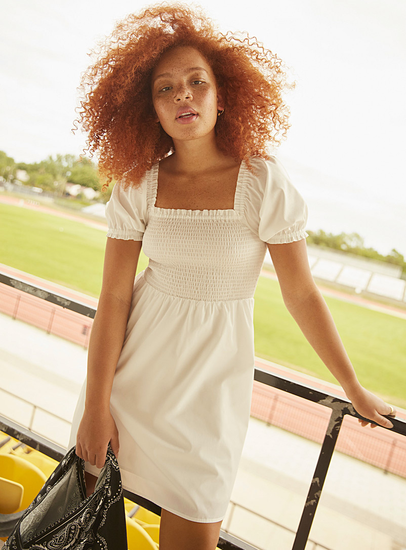 Twik White Smocked puff-sleeve square-neck dress for women