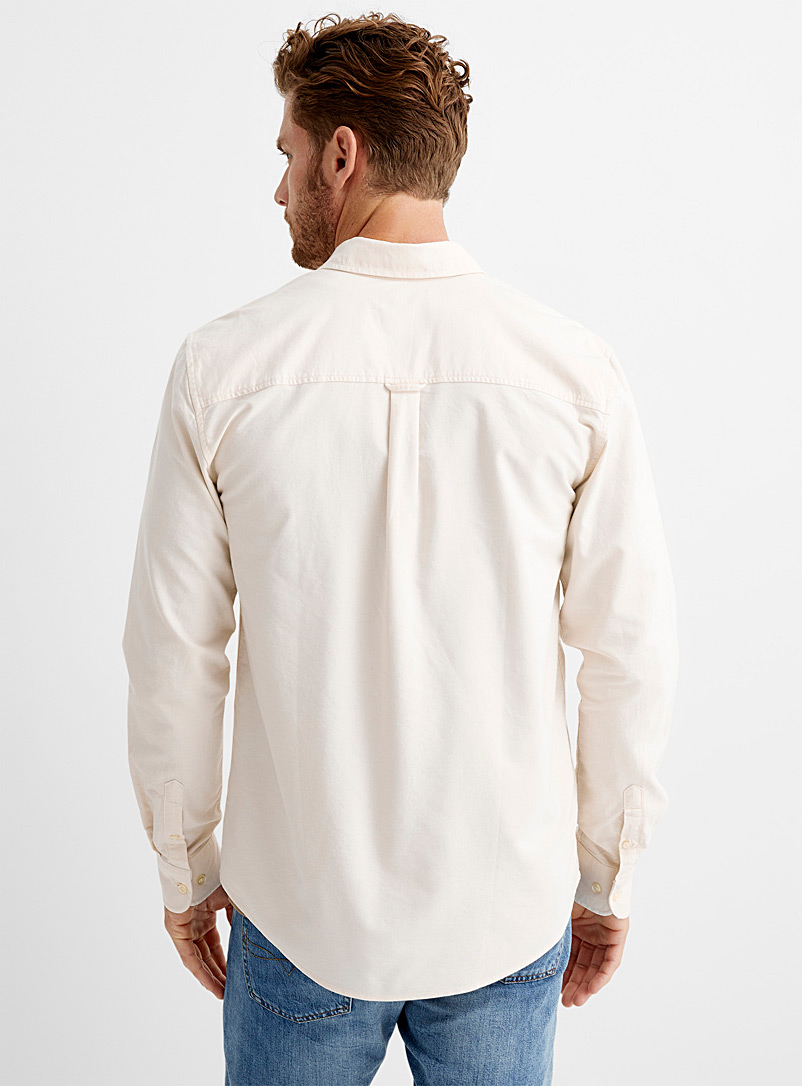 Le 31 Cream Beige Recycled cotton Oxford shirt Modern fit for men