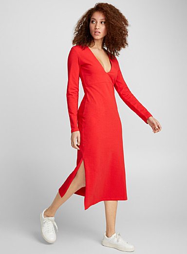 Plunging V-neck jersey dress
