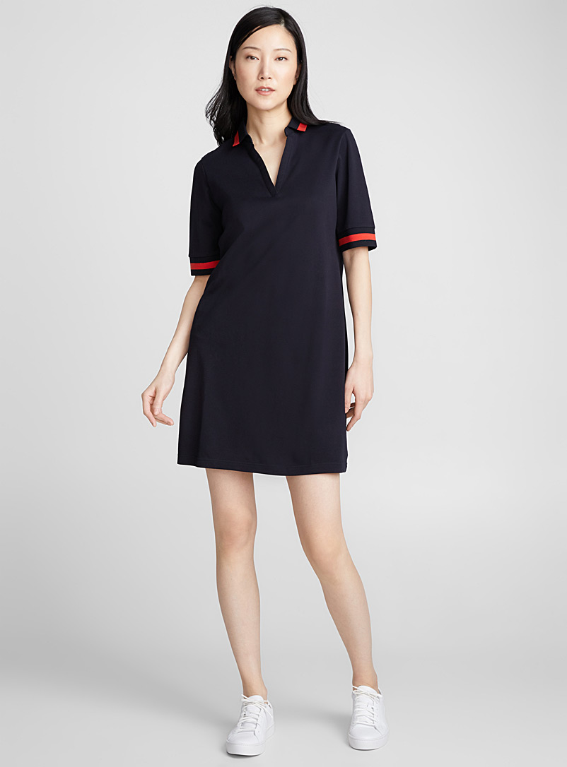 Contrast trim polo dress - Straight - Marine Blue