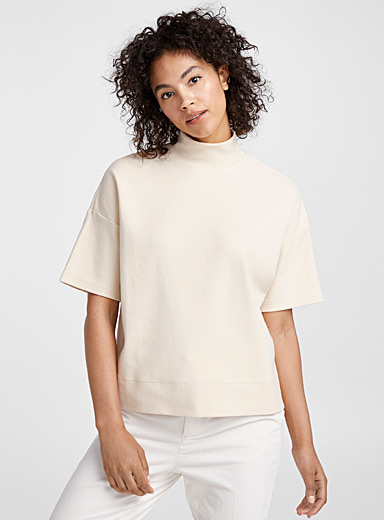 Boxy high-neck organic cotton tee