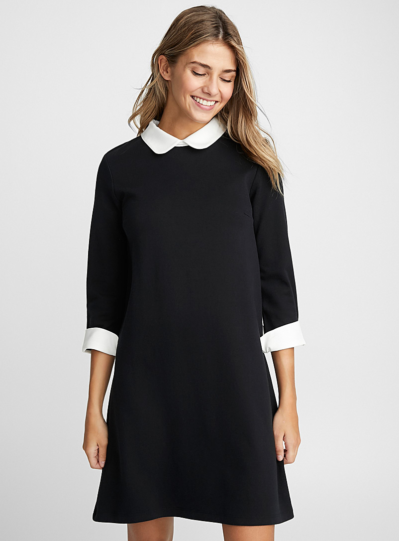 Twik Black and White Contrast trim polo dress for women