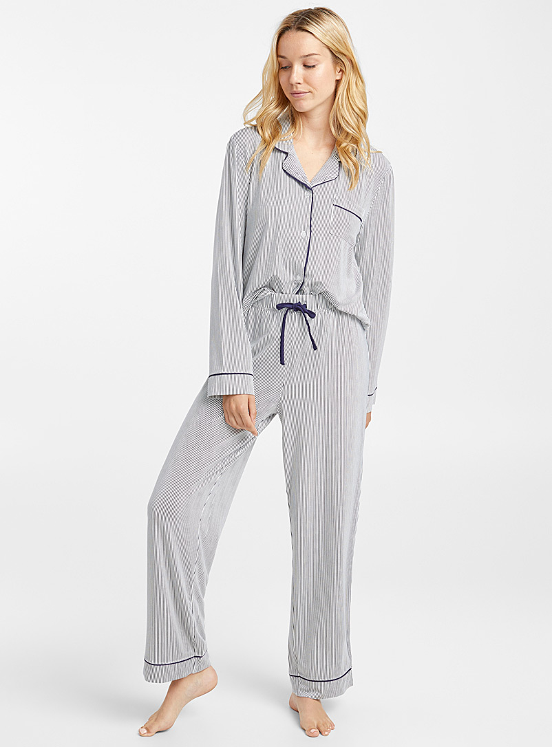 striped-trimmed-pyjama-set